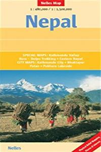Nepal Nelles Map (English, French and German Edition)